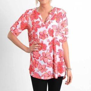 NWT SIMPLY SOUTHERN Sarasota Hibiscus Tunic Shirt